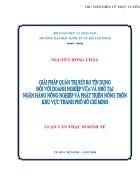 Quản trị rủi ro tín dụng Doanh nghiệp vừa và nhỏ tại Ngân Hàng Nông Nghiệp Phát Triển Nông Thôn khu vực Thành Phố Hồ Chí Minh