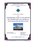 Thẩm định dự án đầu tư xây mới nhà máy chế biến thủy sản cmfish tại ngân hàng công thương cà mau