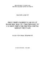 Giải pháp phát triển nghiệp vụ quản lý danh mục đầu tư cho nhà đầu tư cá nhân trên thị trường chứng khoán Việt Nam