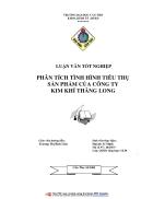 Phân tích tình hình tiêu thụ sản phẩm của Công ty kim khí Thăng Long