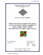 Phân tích hoạt động tín dụng tại Ngân hàng Nông nghiệp và Phát triển Nông thôn chi nhánh huyện Tân Hiệp Kiên Giang