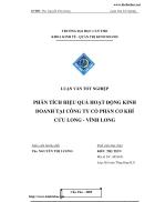 Phân tích hiệu quả hoạt động kinh doanh tại công ty cổ phần cơ khí Cửu Long Vĩnh Long