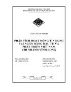 Phân tích hoạt động tín dụng của ngân hàng Đầu tư và Phát triển chi nhánh Vĩnh Long