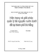 Hiện trạng và giải pháp quản lý tài nguyên nước dưới đất tại Đà Nẵng