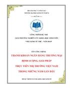 Thanh khoản ngân hàng thương mại Định lượng giải pháp Thực tiễn thị trường Việt Nam trong những năm gần đây