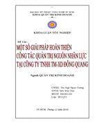Thực trạng quản trị nguồn nhân lực tại công ty TNHH thương mại XD Đông Quang