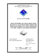 Phân tích hiệu quả hoạt động kinh doanh của Ngân hàng Phát triển Nhà đồng Bằng Sông Cửu Long Chi Nhánh Cần Thơ Phòng giao dịch Ninh Kiều