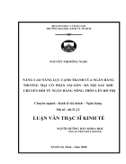 Nâng cao năng lực cạnh tranh của ngân hàng TMCP Sài Gòn Hà Nội sau khi chuyển đổi từ ngân hàng nông thôn lên đô thị