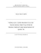 Nâng cao năng lực cạnh tranh của các ngân hàng TMCP tại Tp Hồ Chí Minh trong thời kỳ hội nhập kinh tế quốc tế