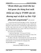Hoàn thiện quy trình thủ tục hải quan cho hàng hoá xuất khẩu tại công ty TNHH vận tải thương mại và dịch vụ Đức Việt Ducviet cargoteam