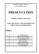 Topic: REVENUE AND SPENDING OF VIETNAM'S GOVERNMENT